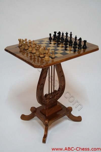 Natural color wooden chess table harp model - Wooden chess tables ...