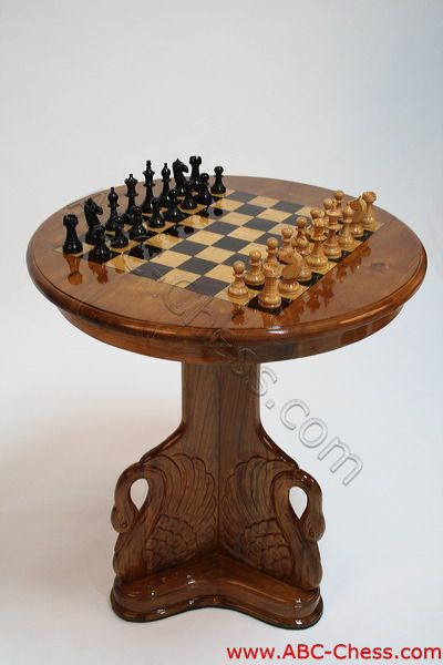 Wooden Chess Table ~ Beautiful teak wooden chess table swan model